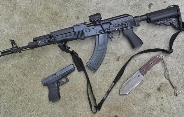 Picture gun, knife, the gun, carabiner, Saiga, self-loading