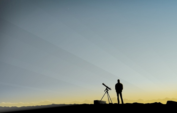 Picture the sky, people, minimalism, spyglass, observation