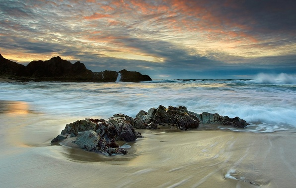 Picture sea, wave, sunset, clouds, stones, rocks, coast