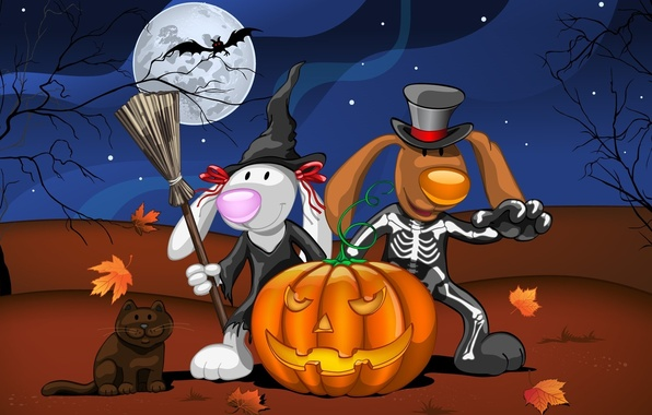 Picture cat, leaves, night, animals, tree, the moon, art, skeleton, Halloween, pumpkin, bat, Halloween, witch, costumes