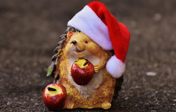 Picture smile, background, holiday, apples, toy, new year, Christmas, positive, muzzle, hedgehog, fruit, Santa Claus, Santa, …