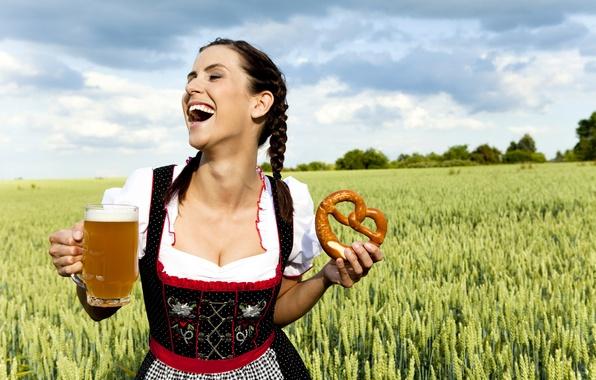Picture field, girl, clouds, joy, dress, brunette, hairstyle, mug, braids, ears, brew, Kalach