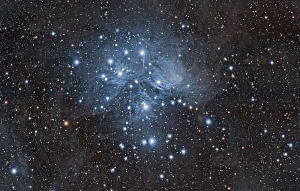 Picture space, The Pleiades, M45, star cluster, in the constellation of Taurus
