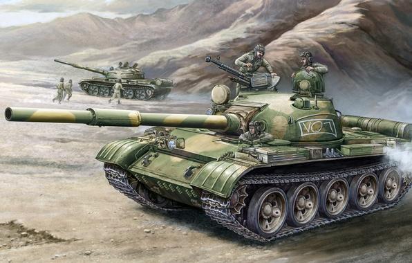 Picture figure, art, Soviet medium tank, T-62, object 166