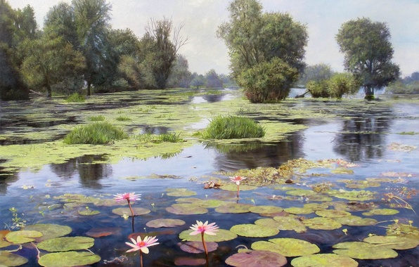Picture water, trees, landscape, flowers, lake, pond, reflection, picture, Lotus, flowers, Zbigniew Kopania, duckweed