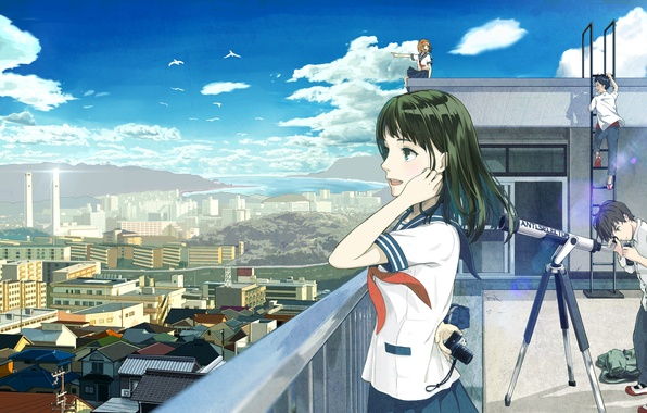 Picture roof, the sky, clouds, the city, girls, home, anime, art, form, guys, telescope, students, 4ugaii, …
