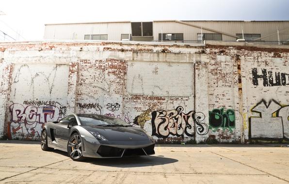 Picture the sky, grey, wall, graffiti, the building, shadow, gallardo, lamborghini, grey, Lamborghini, Gallardo, lp560-4, front …