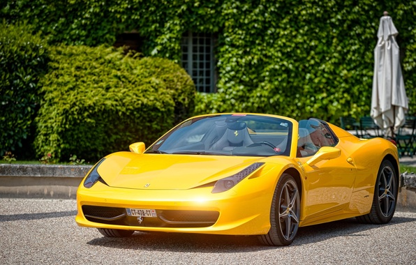 Picture Ferrari, 458, Yellow, Castle, Spider, Cabriolet, Supercar, Paul Rodrigues