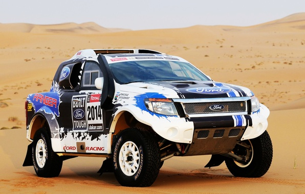 Picture Ford, Sand, Auto, Sport, Machine, The hood, Jeep, Lights, Rally, Dakar, SUV, The front, 2014