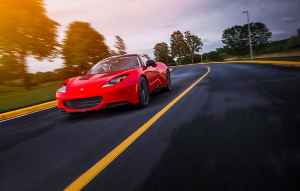 Picture Lotus, Red, Car, Speed, Front, Sun, Sport, Road, Evora S