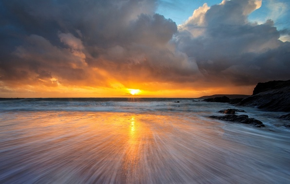 Picture sea, the sky, water, the sun, clouds, landscape, sunset, nature, reflection, background, the ocean, widescreen, …