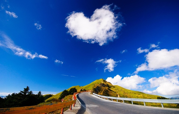 Picture road, summer, asphalt, clouds, landscape, mountains, hills, the slopes, summer, road, trees, mountains, clouds, hills, …