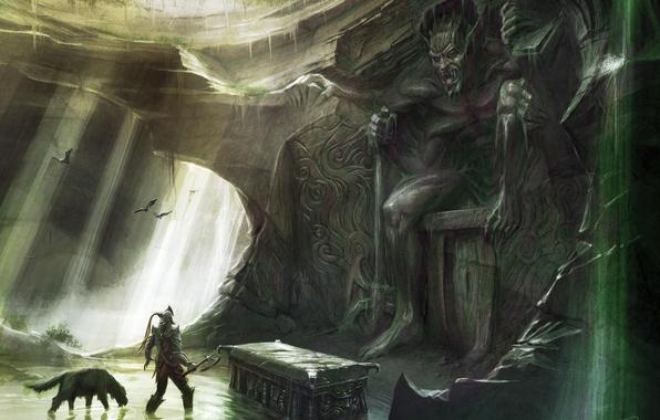Picture warrior, cave, skyrim, Skyrim, tomb, The Elder Scrolls