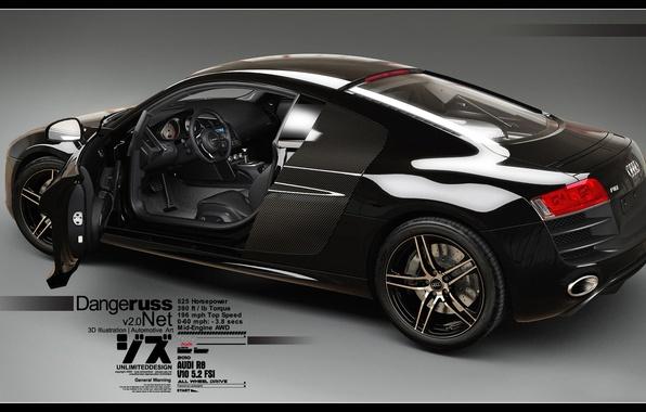 Picture Audi R8, V10, 3D Car, Black Car