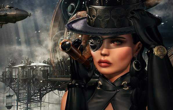 Picture look, girl, face, background, steampunk