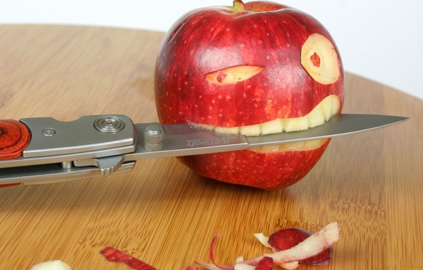 Picture eyes, table, teeth, Apple, knife