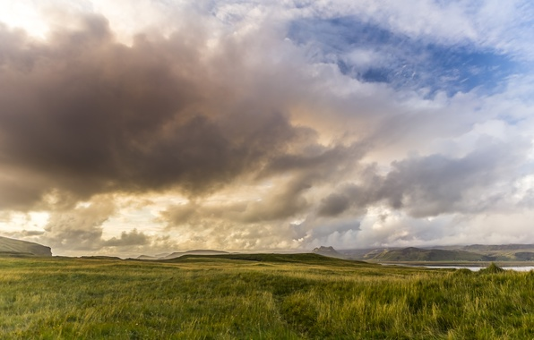Picture the sky, clouds, nature, mountain, valley, panorama, Sunset, Iceland