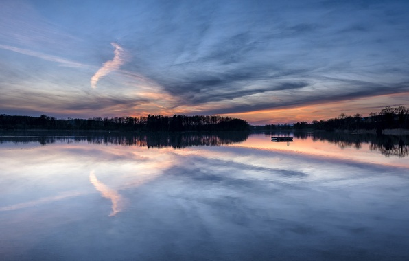 Picture forest, the sky, clouds, trees, sunset, lake, reflection, shore, the evening, Switzerland