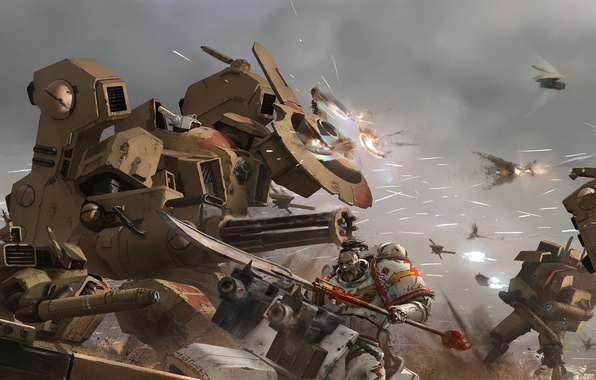 Picture Warhammer 40k, space marines, tau, white scars