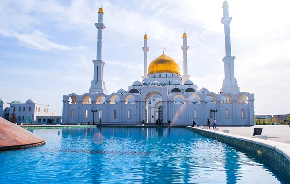 Picture people, fountain, mosque, Kazakhstan, the minaret, Astana