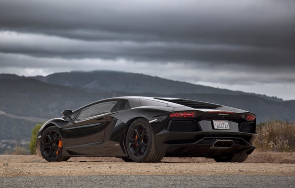 Picture Lamborghini, black, Aventador, rear-three-quarter