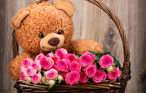 Picture basket, roses, bouquet, bear, bear, pink, flowers, romantic, roses, basket, with love, Teddy