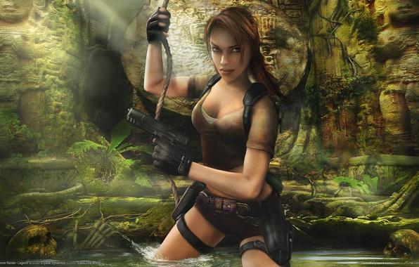Picture girl, weapons, jungle, characters, skull, cave, guns, girl, ruins, Lara Croft, statues, skulls, ruins, game …