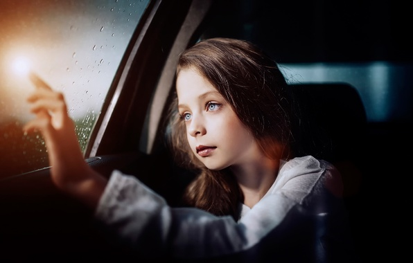 Picture auto, look, glass, drops, girl, Belief in miracles