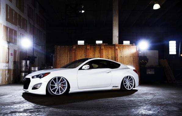 Picture white, wheels, side, Hyundai, vossen, Genesis, 3.8
