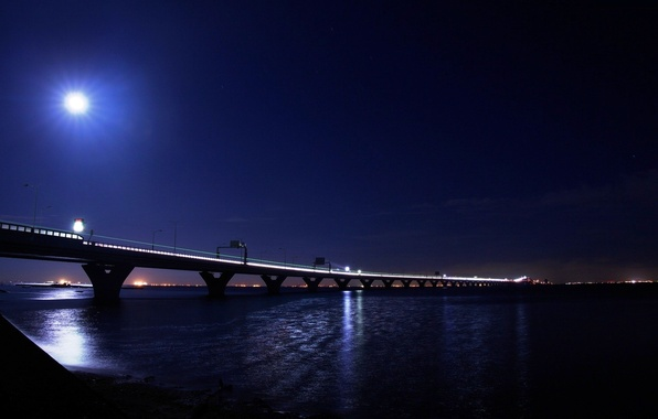 Picture light, night, bridge, the city, lights, the moon, light, moon, river, bridge, water
