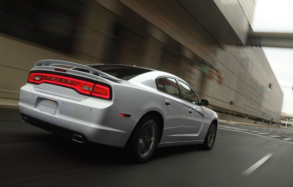 Picture white, Auto, The city, Sedan, Dodge, Charger, In Motion