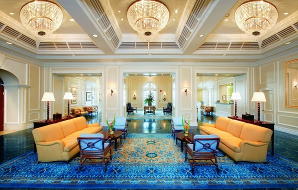 Picture design, style, room, furniture, chandeliers, blue carpet, yellow sofas