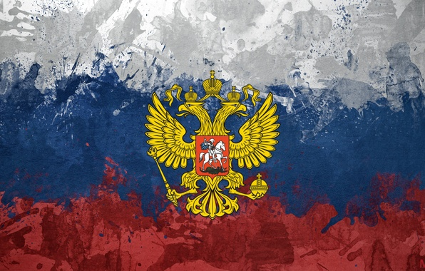 Picture eagle, flag, coat of arms, Russia, tricolor, made it myself (=