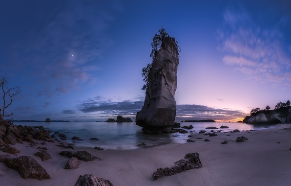 Picture beach, landscape, rock, stones, the ocean, dawn, twilight, Cathedral Cove, Hahei