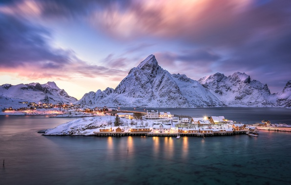 Picture mountains, island, village, Norway, Norway, the fjord, Nordland, The Lofoten Islands, Pure, Lofoten archipelago, The …