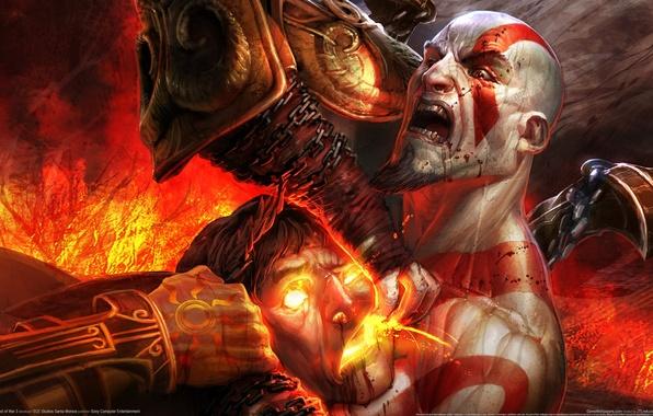 Picture demon, red, blood, kratos, god of war 3, Game wallpaper