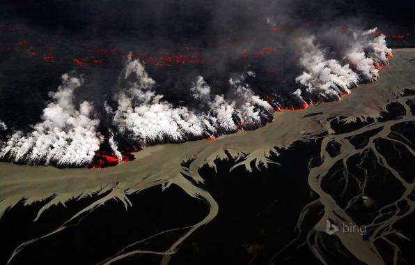 Picture flame, smoke, the volcano, the eruption, lava, Iceland, Vatnajokull National Park, Holuhraun