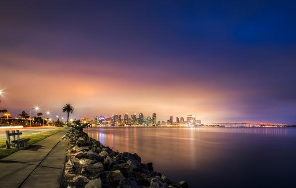 Picture road, sea, night, bridge, lights, stones, coast, skyscrapers, shop, lights, USA, the sidewalk, San Diego