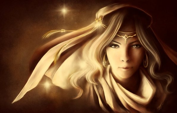 Picture girl, face, background, star, art, Diadema