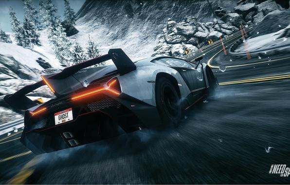 Picture skid, drift, ghost, Need for Speed, nfs, Rivals, NFSR, lamborghini veneno