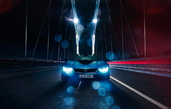 Picture BMW, Car, Blue, Front, Bridge, Color, Rain, Sport