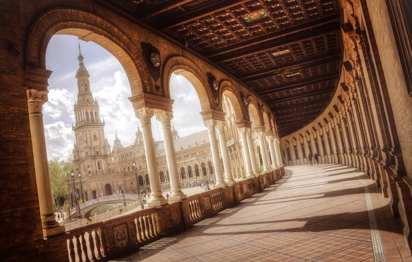 Picture bridge, people, area, fountain, Spain, columns, Spain, Seville, Andalusia, Andalusia, Sevilla, Plaza of Spain