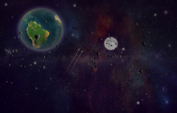 Picture earth, stars, asteroids
