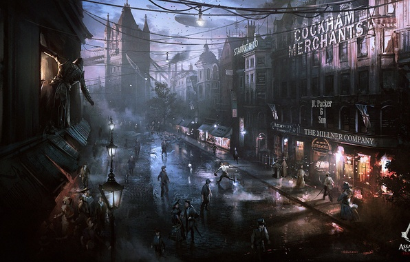 Picture night, the city, street, killer, art, Assassin's Creed: Syndicate