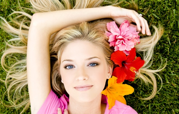 Picture look, flowers, face, Girl, blonde