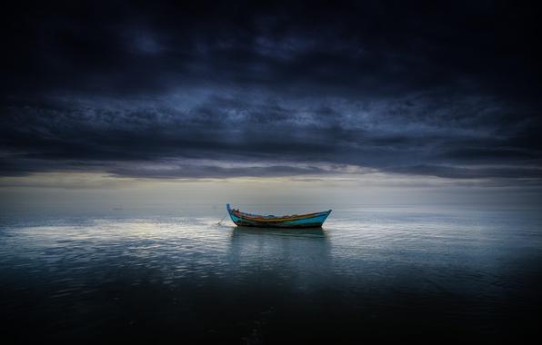 Wallpaper sea, clouds, boat, storm, horizon, gray clouds
