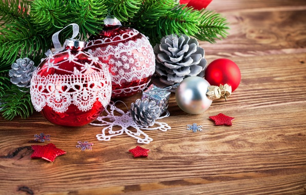 Picture decoration, branches, balls, tree, New Year, Christmas, Christmas, bumps, wood, decoration, Merry