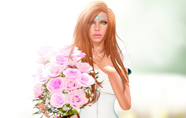 Picture look, girl, flowers, face, rendering, hair