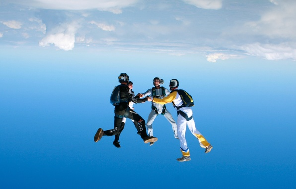 Picture camera, parachute, container, helmet, skydivers, extreme sports, parachuting, headdown, group