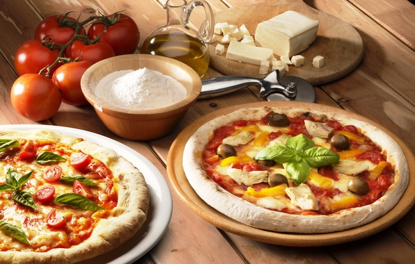 Picture table, oil, food, chicken, cheese, Board, pepper, pizza, tomatoes, olives, flour